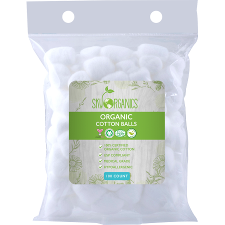 Sky Organics Natural Super Soft Hypoallergenic Organic Cotton Balls for Makeup Remover & Nail Remover - 100 (Best Organic Makeup Brands)