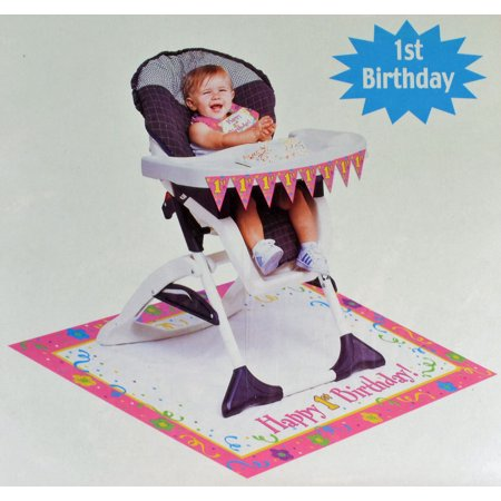 Paper Art Happy 1st Birthday Baby Girls Pink High Chair Party Decoration Kit (Baby Girl 1st Birthday Party Ideas)