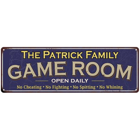 The Patrick Family Personalized Blue Game Room Metal 8x24 Sign 108240037726](Patrick Games)