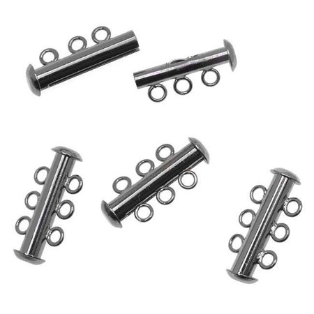 Slide Tube Clasp, 3 Rings Strands 21.5mm, 4 Clasps, Gun Metal Plated ()