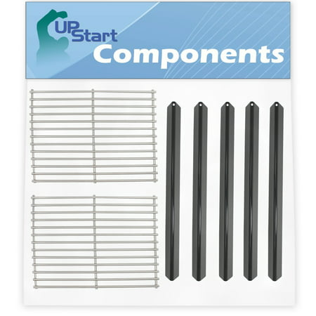 "Image of ""5 BBQ Grill Heat Shield Plate Tent & 2 Cooking Grates Replacement Parts for Weber GENESIS SILVER A LP W/STAINLESS STEEL GRATES (2000 - Stainless Steel Grid 15"""" & Porcelain Steel Flavorizer Bar 21.5"""""""