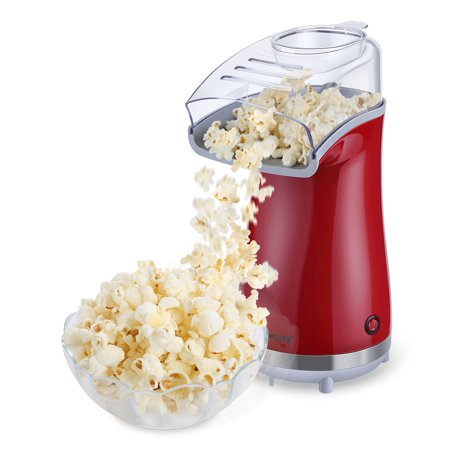 Excelvan Air-pop Popcorn Maker Makes 16 Cups of Popcorn, Includes Measuring Cup and Removable Lid Popcorn Maker HOT AIR POPCORN MAKER ()