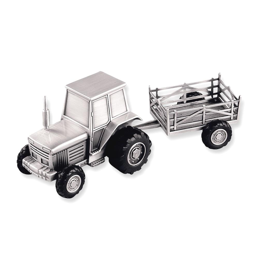 IceCarats Tractor Trailer Bank  Baby Pewter-tone Finish