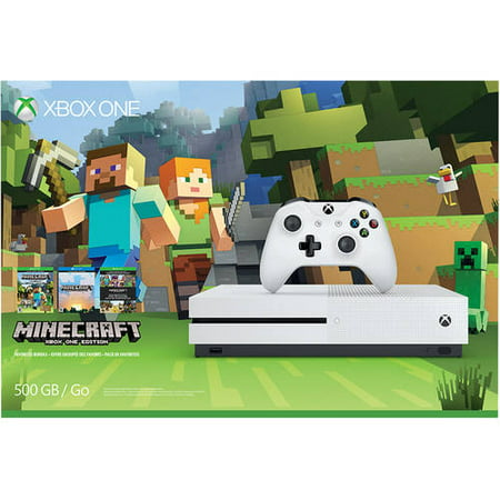 Microsoft Xbox One S (500GB) Console with Minecraft, White, 889842133073
