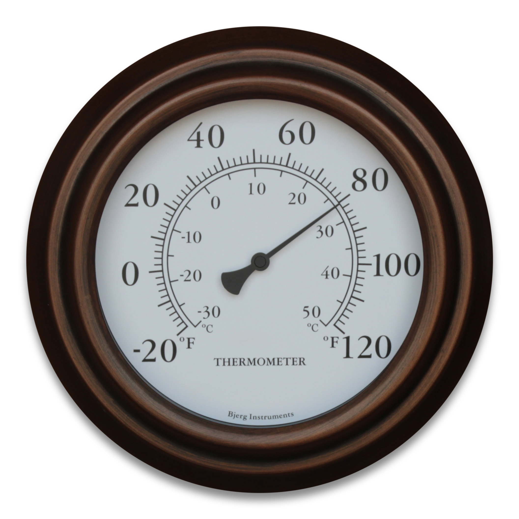 Bronze 8 inch Decorative Indoor / Outdoor Patio Wall Thermometer