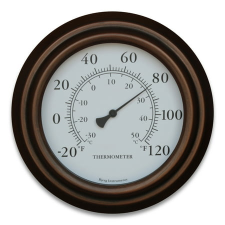 Bronze 8 inch Decorative Indoor / Outdoor Patio Wall Thermometer ()