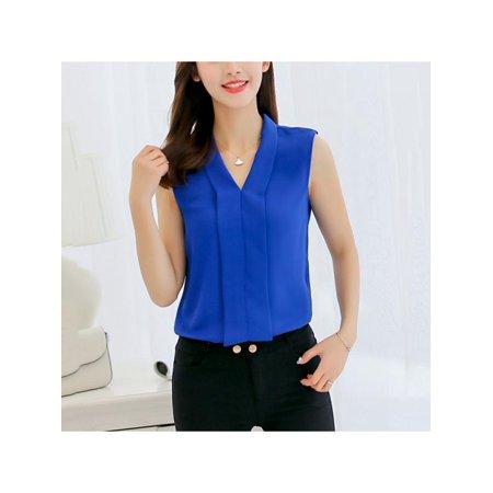 Ropalia Summer Fashion Women Sleeveless V-Neck Office Chiffon Slim Blouse Shirt
