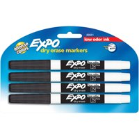 EXPO Low Odor Dry Erase Markers, Fine Point, Black, 4 Count
