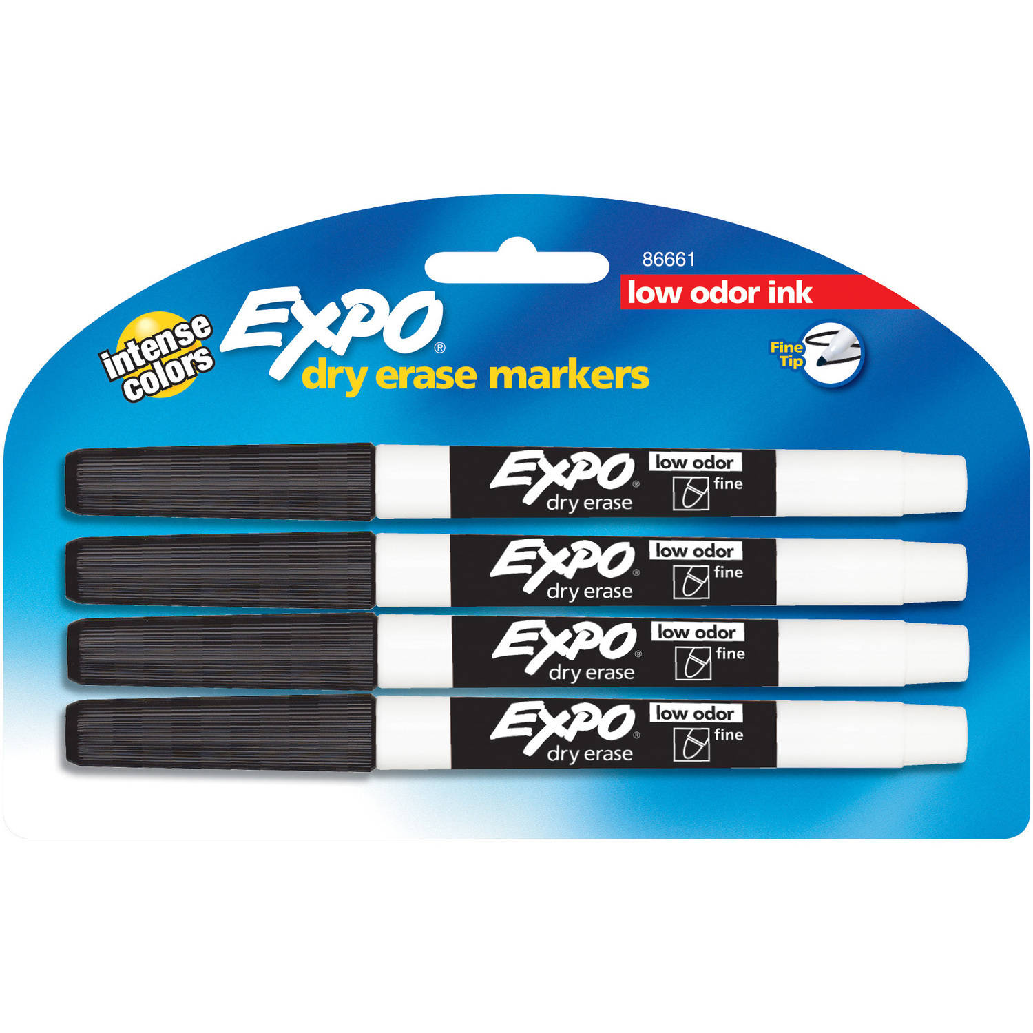 Expo Low-Odor Dry Erase Pen-Style Markers, 4pk, Black