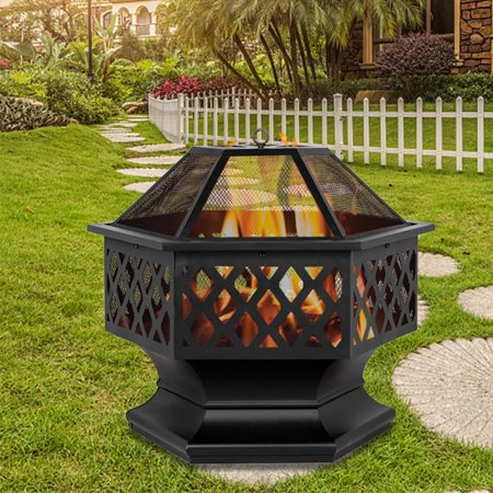 """Outdoor Heavy Steel 24"""" Fire Pit Wood Burning Fireplace Patio Backyard Heater, Hex Shaped Firepit Bowl, Upgrade Metal Portable Fire Pit w/ Screen Cover, Handle, Cutouts, Poker, 24""""x27""""x24"""", Q15817"""