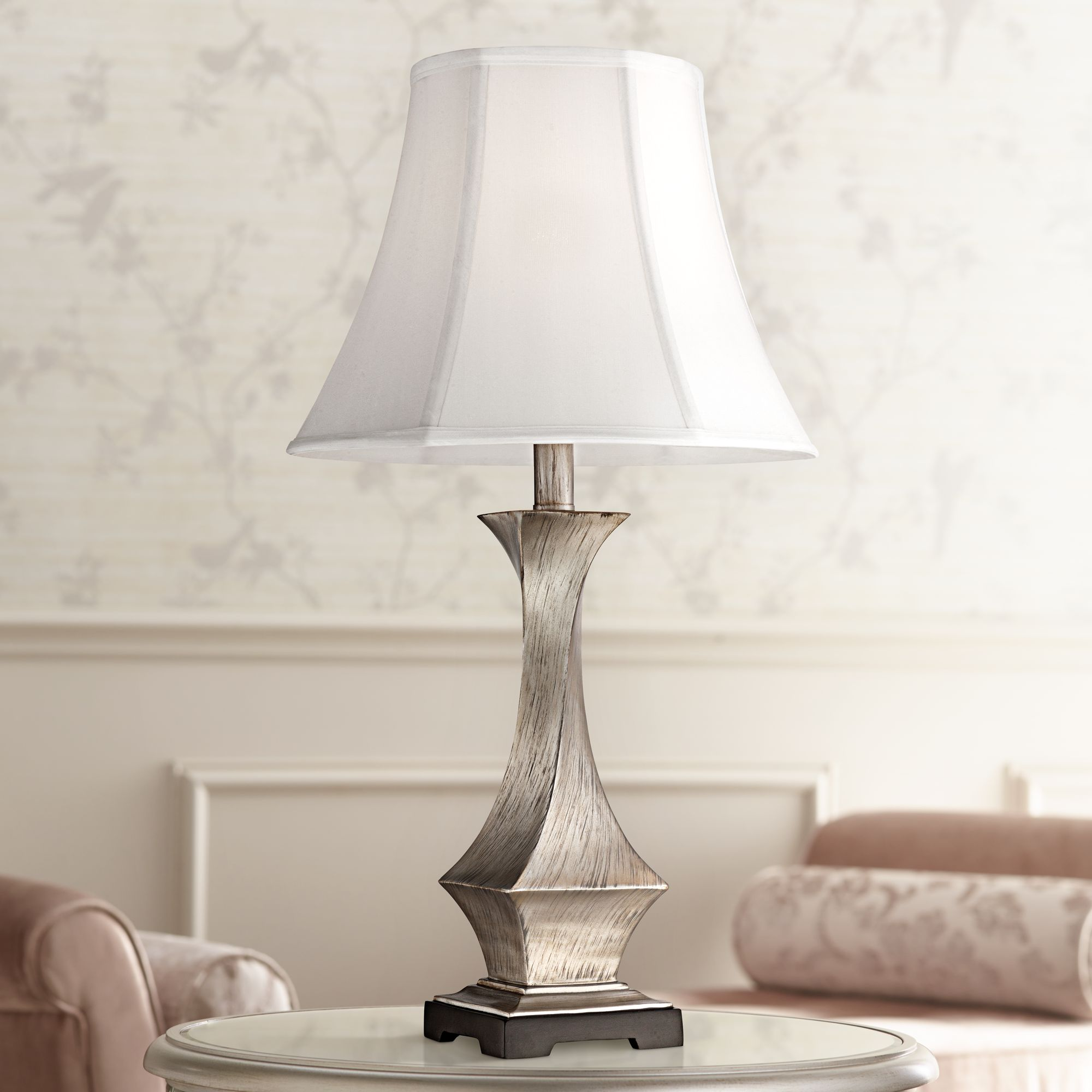 Regency Hill Modern Table Lamp Silver Leaf Twist White Bell Shade for Living Room Family Bedroom Bedside Nightstand Office