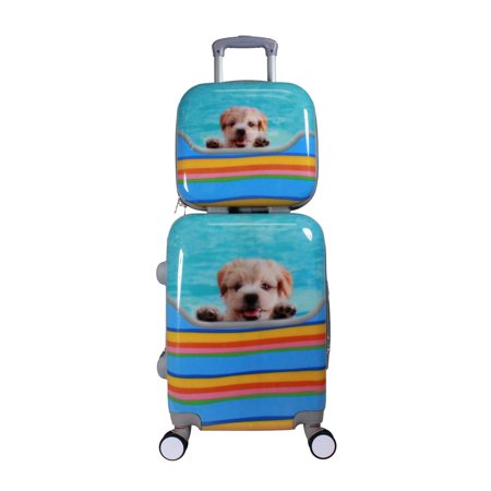 ecWorld Enterprises, Inc. Cute Puppy Dog 2-piece Hardside Carry-on Spinner Luggage Set with TSA -