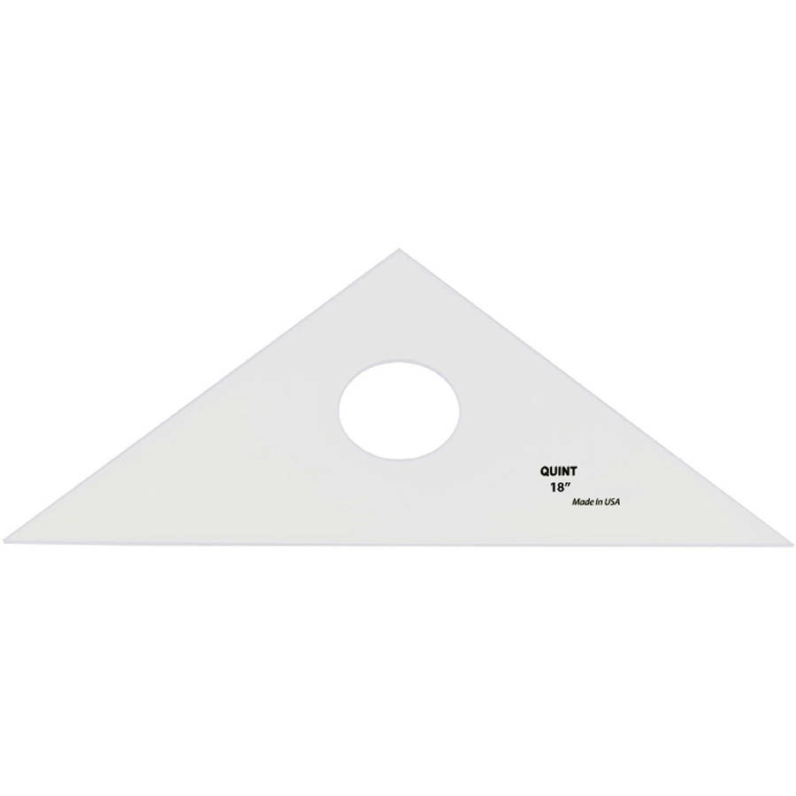 """Professional Plain Edge Clear Triangle-45/90-18"""", Pk 1, Quint Measuring Systems"""