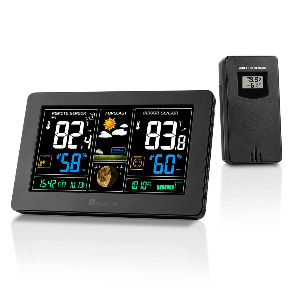 Houzetek Wireless Weather Station Indoor Outdoor Thermometer Home Alarm Clock Outdoor Sensor Snooze Alarm,... by