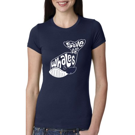 Women's Whale Tail Save the Whales T Shirt Funny Animal Tee for Girls