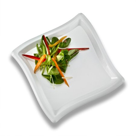 10 Inch Square Wave - White 10 Inch Square Wave Plastic Dinner Plates/Set of 120