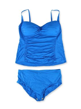 La Blanca Womens Twist Front Hi Rise 2 Piece Tankini, Blue, 20W