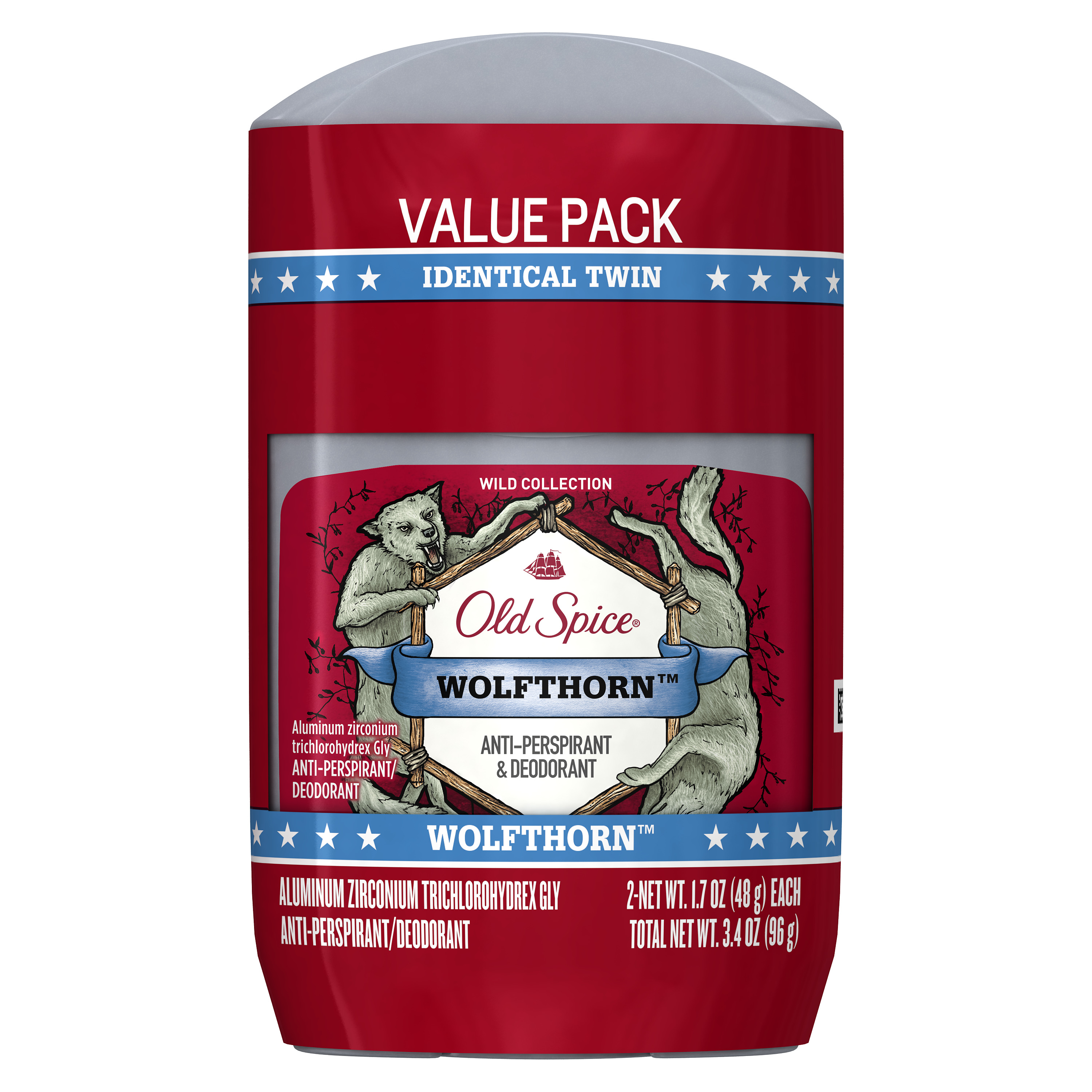 Old Spice Wild Collection Wolfthorn Scent Men's Invisible Solid Anti-Perspirant & Deodorant 1.7 Oz Twin Pack