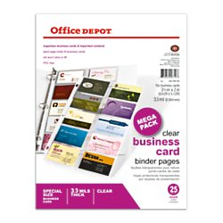 Office Depot Business Cards (Office Depot Business Card Binder Pages, 8 1/2in. x 11in., Clear, Pack Of 25,)