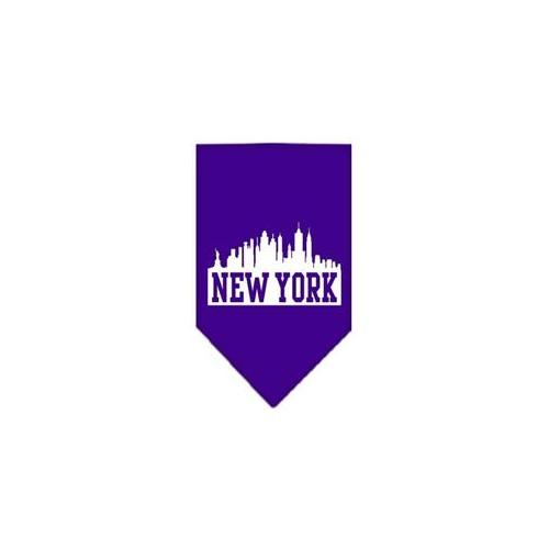 Image of Mirage 66-75 LGPR New York Skyline Screen Print Pet Bandana Purple Large