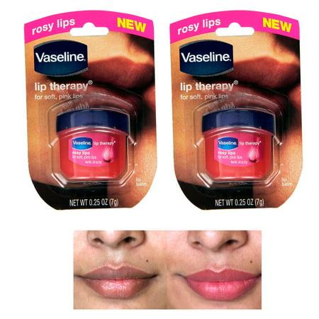 Jelly Belly Lip Balm (2 Vaseline Therapy Lip Balm 0.25 Oz Rosy Flavor Petroleum Jelly Mini Jar Lipbalm)