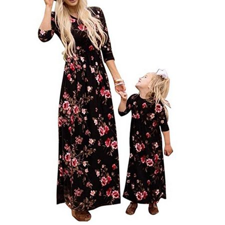 Mother and Daughter Casual Floral Long Dress Matching Women Girls Family Gifts
