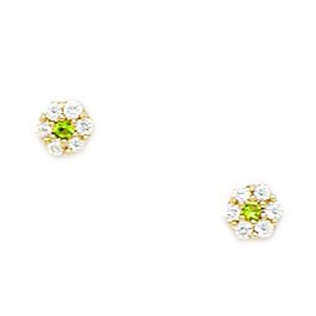 14k Yellow Gold August Green CZ Small Flower Screw-Back Earrings - Measures 4x4mm