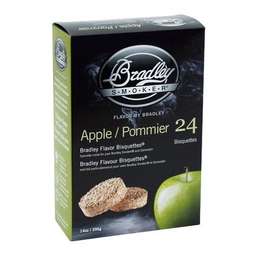 Bradley Flavor Bisquettes, Apple, 24-Pack