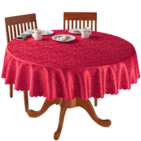 Fancy Scroll Scalloped Edge Festive Tablecloth, 70