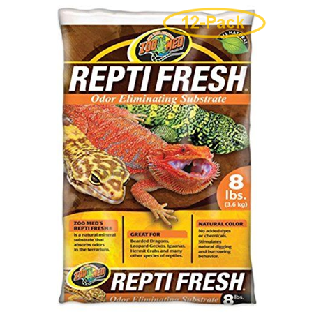 Zoo Med Repti Fresh Odor Eliminating Substrate 8 lbs - Pack of 12 Repti Sand Substrate