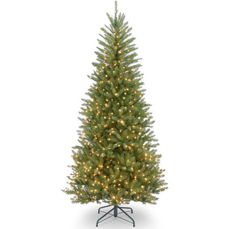 National Tree Pre-Lit 7-1/2' Dunhill Slim Fir Hinged Artificial Christmas Tree with 600 Clear Lights