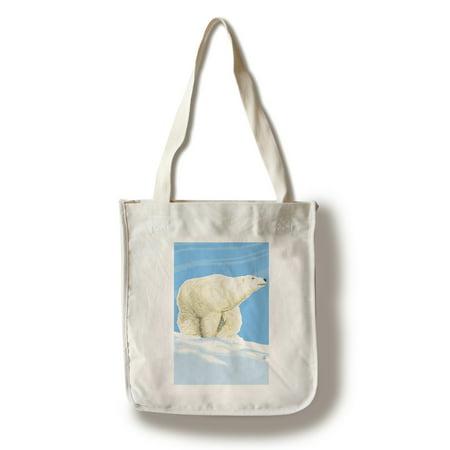 Polar Bear Solo - Lantern Press Poster (100% Cotton Tote Bag - Reusable)