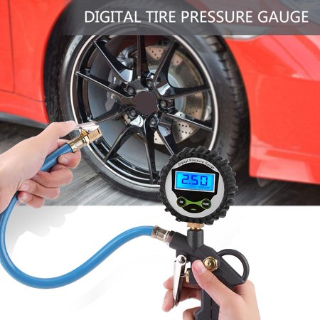 Tbest Tire Inflator Pressure Gauge, Tire Pressure Gauge,Car Auto 0-220PSI Digital Tyre Tire Air Pressure Inflator Gauge Meter (Best Tire Air Gauge)