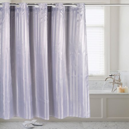 Sweet Home Collection Hookless Fabric Dobby Stripe Shower Curtain with Snap Off Liner