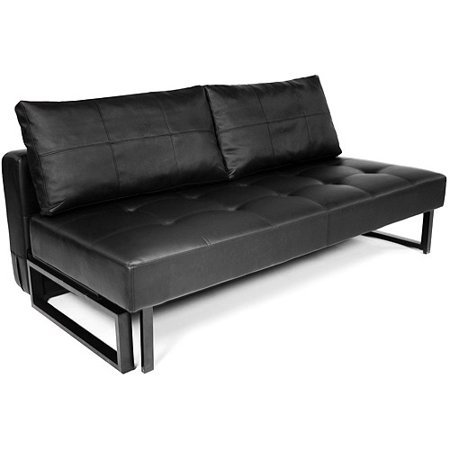 Vera faux leather convertible sofa bed black for Sofa bed 74 inches