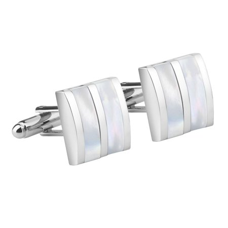 - New Classic Men`s Wedding Party High Quality Smooth Cufflinks Square Cuff Links - Silver/White Jade Camber