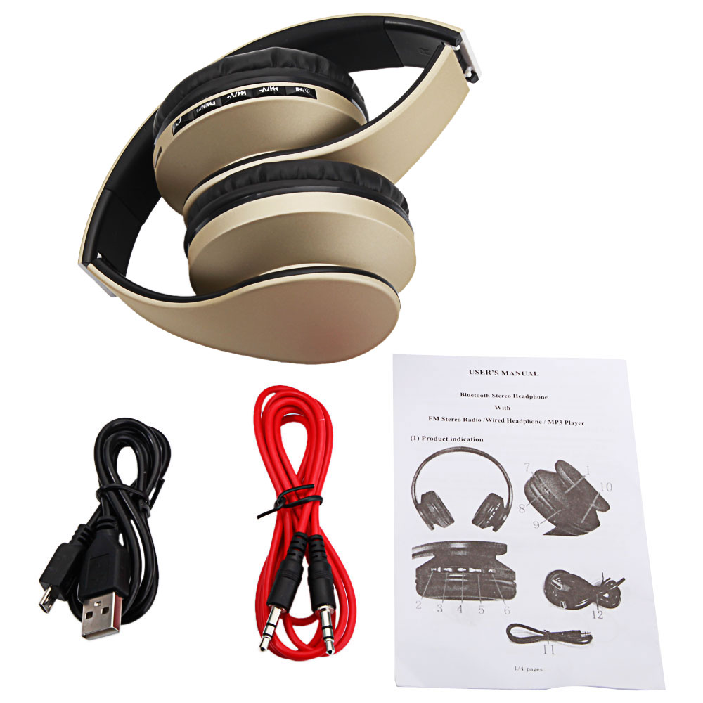 Zimtown Foldable Wireless for Bluetooth Stereo Bass FM Headphones Headset For Phones