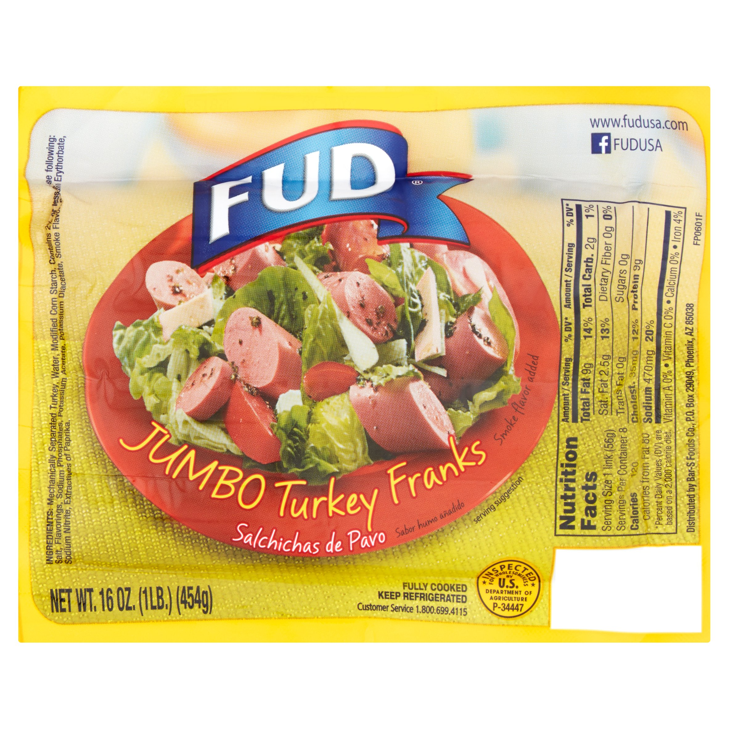 Fud Jumbo Turkey Franks, 16 oz