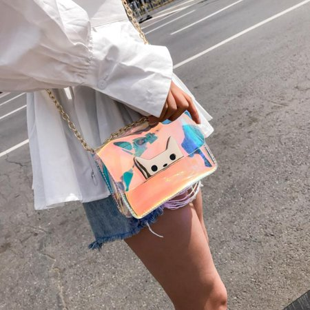 Women Jelly Candy Clear Shoulder Bag Transparent Handbag Tote Cosmetic Beach Bag](Candy Bags Purses)