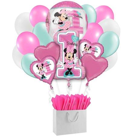 Disney Minnie Mouse 1st Birthday Girl Party 18 PC Balloon Bouquet Gift Bag Set