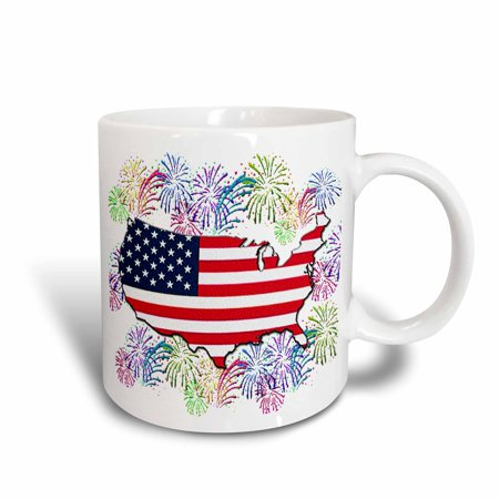 Fireworks Mug - 3dRose USA Flag Map with Fireworks (Textured), Ceramic Mug, 11-ounce