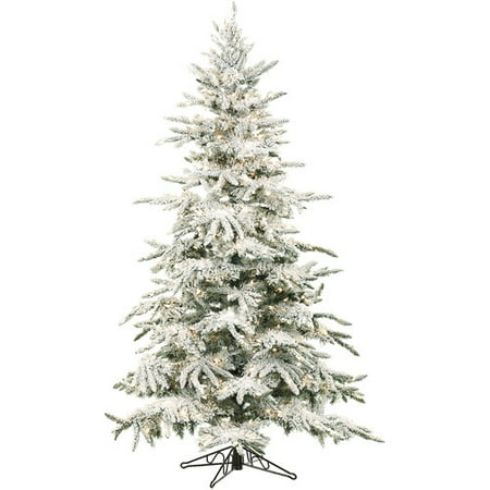 Clear Christmas Tree - Fraser Hill Farm Pre-Lit 7.5' Mountain Pine Flocked Artificial Christmas Tree with Clear LED String Lighting