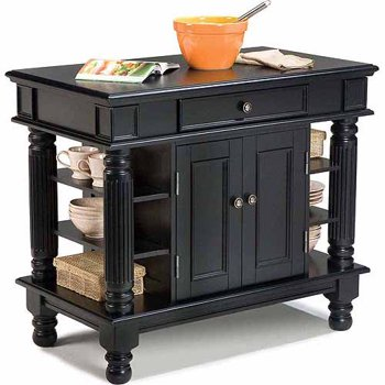 Home Styles Black Wood Base with Wood Top Kitchen Island