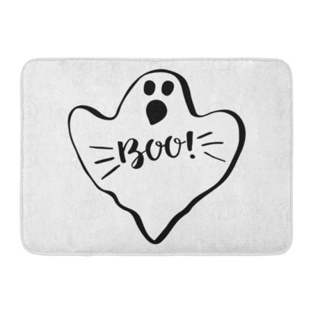 GODPOK Box Black Halloween Ghost with Lettering Boo and Pumpkin White Bats Cartoon Rug Doormat Bath Mat 23.6x15.7 inch