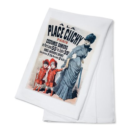 A la Place Clichy - Costumes Demiers Vintage Poster (artist: Cheret) France c. 1883 (100% Cotton Kitchen - Nightingale Costume