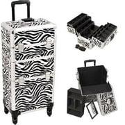 Sunrise I3461ZBWH Zebra Trolley Makeup Case