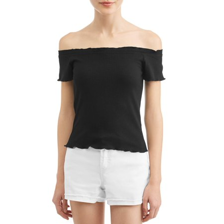Juniors' Rib Knit Frilled Trim Off the Shoulder Blouse