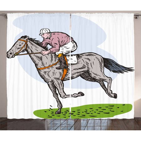 Animal Curtains 2 Panels Set  Sketchy Horse Racing Theme Jockey Pony Stallion Riding On Field Retro Illustration  Window Drapes For Living Room Bedroom  108W X 84L Inches  Multicolor  By Ambesonne