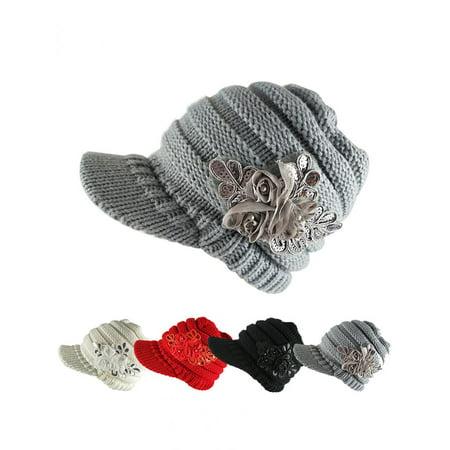 Fashion Winter Women Woolen Yarn Plain Weave Knitting Sequins Flower Visor - Sequined Hats
