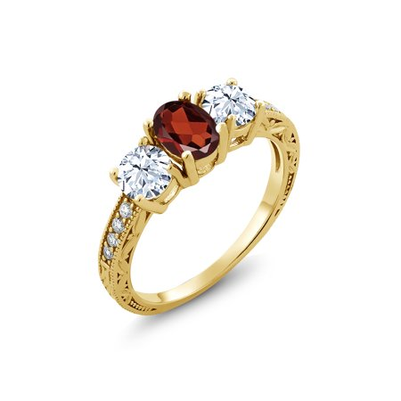 Oval Faceted Garnet Ring - 2.61 Ct Oval Red Garnet 18K Yellow Gold Plated Silver Ring